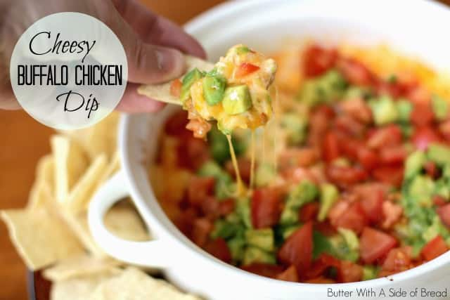 Cheesy Buffalo Chicken Dip made with 3 cheeses, juicy chicken and a flavorful Buffalo sauce with a bit of a kick! Easy appetizer perfect for game day.