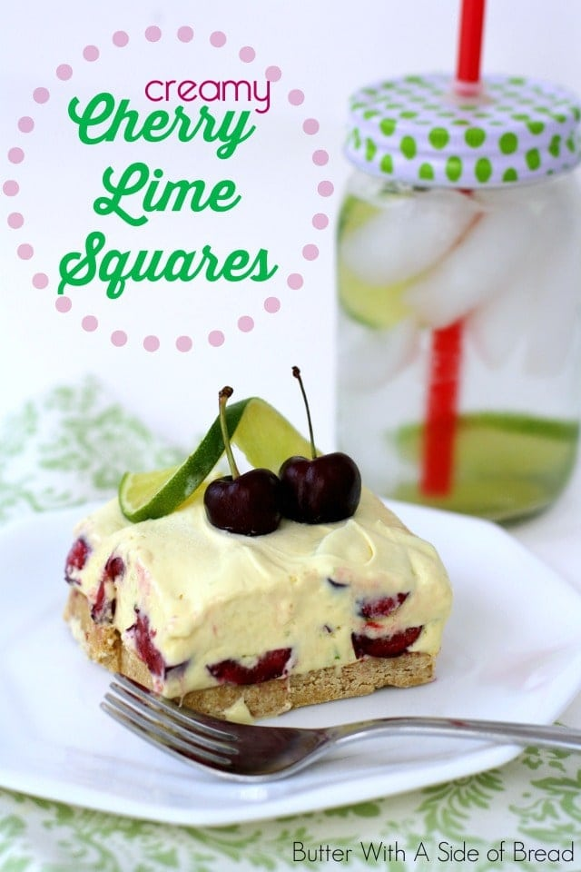 I had a Cherry Limeaid from Sonic not too long ago and I thought, wouldn't it be awesome if I made a dessert reminiscent of it?! These yummy little squares are sweet and refreshing and I adore the sliced cherries in them. They're a fantastic summer dessert!