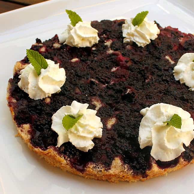 Blackberry Upside-down Pike:Butter with a side of bread
