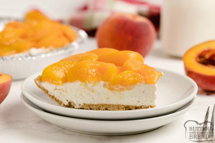 Slice of no bake cheesecake recipe with peaches