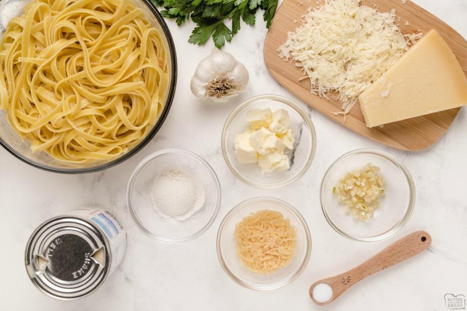Light Alfredo Sauce recipe ingredients