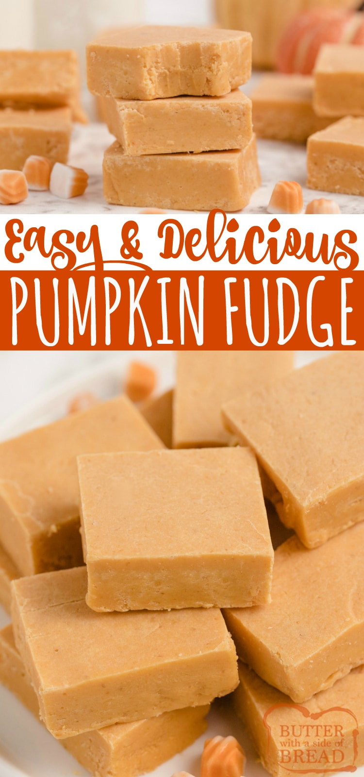 Easy Pumpkin Fudge made with pumpkin, cinnamon chips, marshmallow creme and a few other basic ingredients. One of our favorite fall candy recipes!