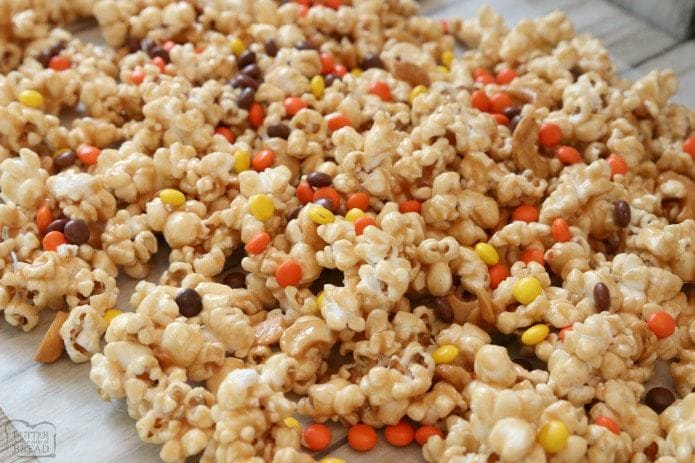 Peanut Butter Popcorn is perfect for peanut butter lovers! Tasty sweet & salty popcorn recipe that's ready in under 20 minutes. Peanut Butter Popcorn is great for parties, game day or any day!