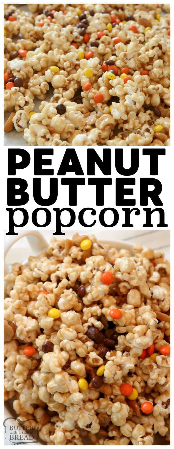 Peanut Butter Popcorn is perfect for peanut butter lovers! Tasty sweet & salty #popcorn #recipe that's ready in under 20 minutes. Peanut Butter Popcorn is great for parties, game day or any day! #PeanutButter popcorn recipe from Butter With A Side of Bread #party #games #food #snacks