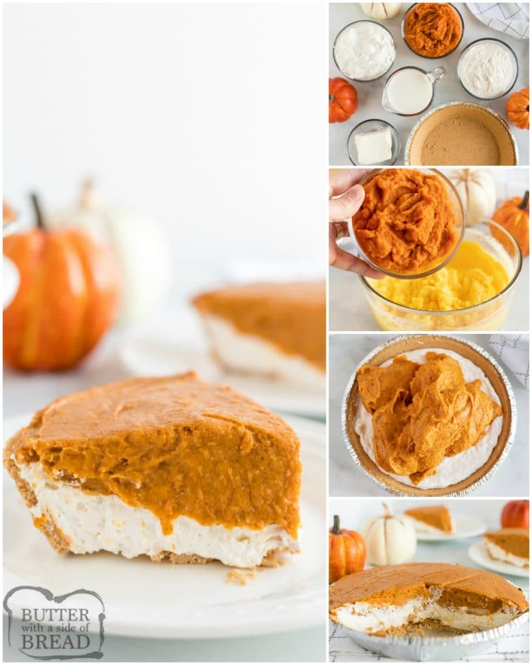 Step by step instructions on how to make no bake pumpkin pie