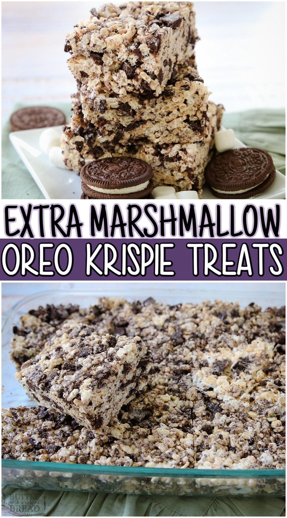 Oreo Krispie Treats are two favorites combined into one tasty marshmallow dessert! Cookies and Cream Rice Krispie Treats are soft & chewy with tons of marshmallows and crushed OREO cookies! #OREO #KRISPIES #Marshmallows #dessert #nobake #easyrecipe from BUTTER WITH A SIDE OF BREAD