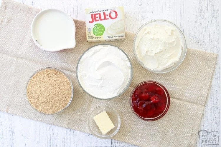 Ingredients needed for white chocolate no-bake cheesecake recipe