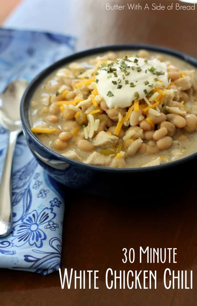 30 MINUTE WHITE CHICKEN CHILI: Butter With A Side of Bread, Easy Fast Chicken Chili