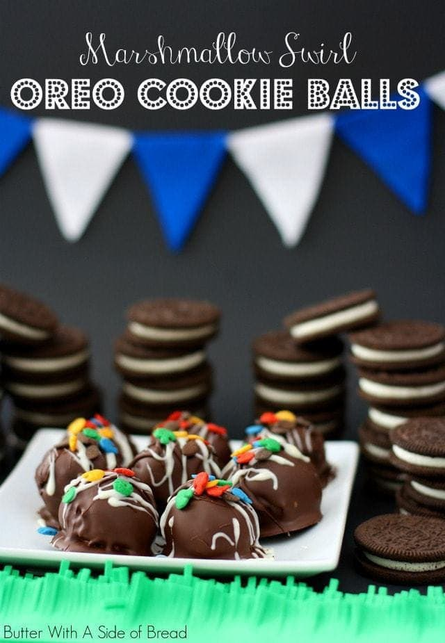 When you're gearing up for the big game, don't forget to balance out the savory sides with some sweet treats like these OREO Cookie Balls! These tasty little truffle-like desserts are so easy to whip up- and if you've never made them, no worries- I include step-by-step photos to below to help you out. The added marshmallow swirl makes these extra special as well. Enjoy!