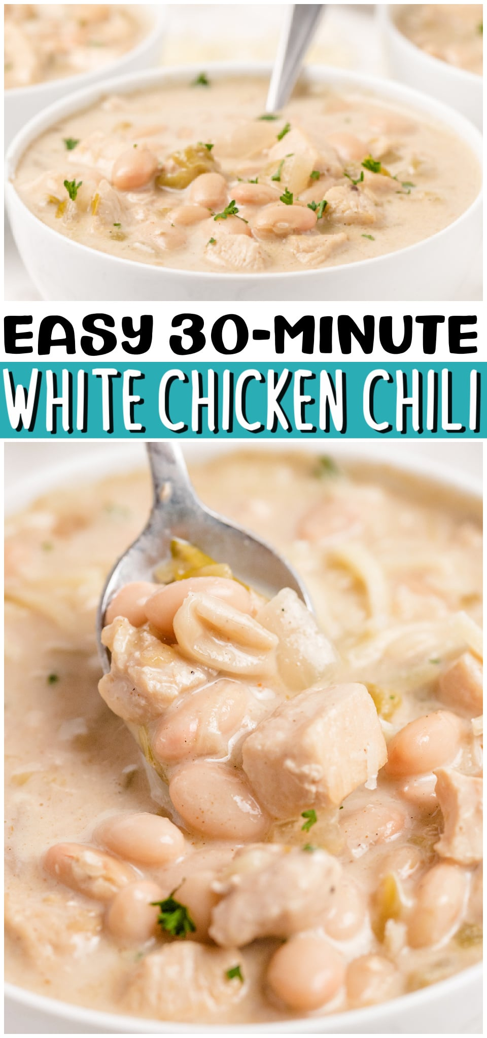 White Chicken Chili is a delicious & comforting meal packed with white beans, chicken, and green chilies. Takes only 30 minutes from start to finish! #chili #chicken #beans #dinner #easyrecipe from BUTTER WITH A SIDE OF BREAD