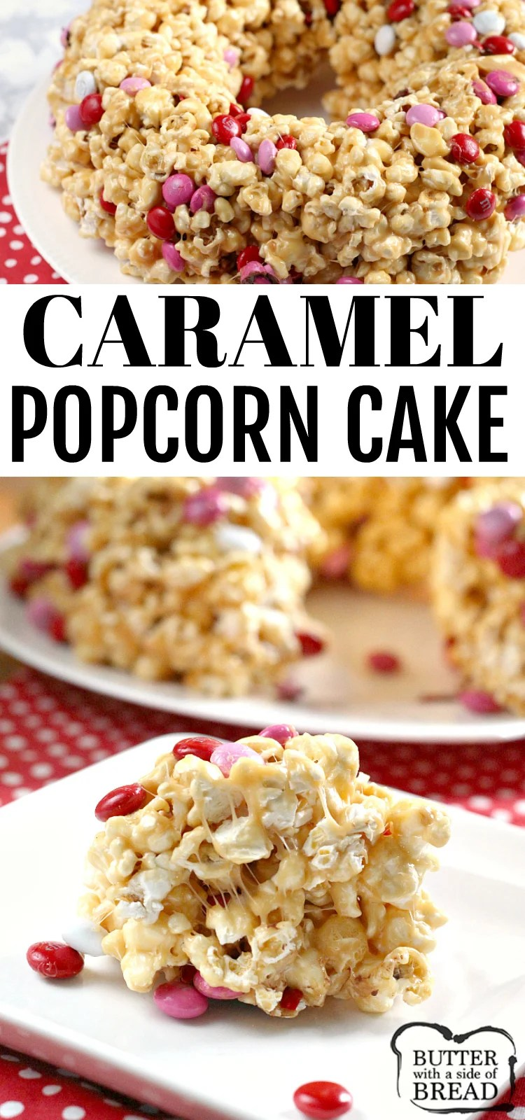 "Caramel Popcorn Cake is made with caramel, marshmallows and a few other basic ingredients for a quick and easy no-bake dessert! This ""cake"" tastes like caramel popcorn but the caramel is a little bit softer and not quite as sticky so it is much easier to eat without making a huge mess!"
