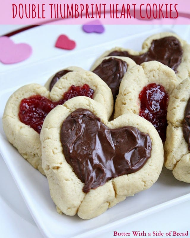 I love making fun treats for holidays and I had even more fun making these Double Thumbprint Cookies with my kids. They thought it was so fun to make the thumbprints and shape the cookies. Like most thumbprint cookies, the recipe called for jam filling which is good, but the fudge filling from Jessica's Peanut Butter Fudge Cups is even better!