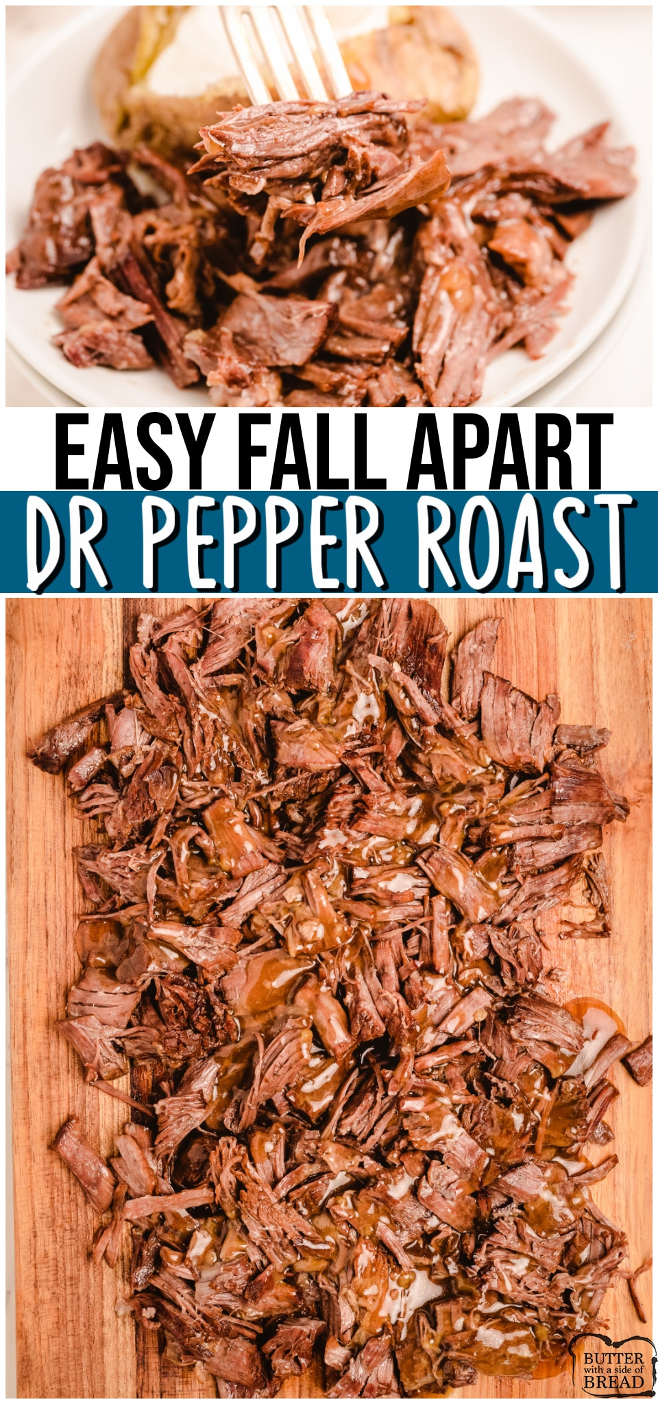 Slow Cooker Dr. Pepper Roast is an easy to make, tender roast made with just 5 ingredients. Packed full of flavor, this crockpot roast recipe is perfect for any Dr. Pepper lover. #beef #roast #fallapart #DrPepper #dinner #easyrecipe from BUTTER WITH A SIDE OF BREAD