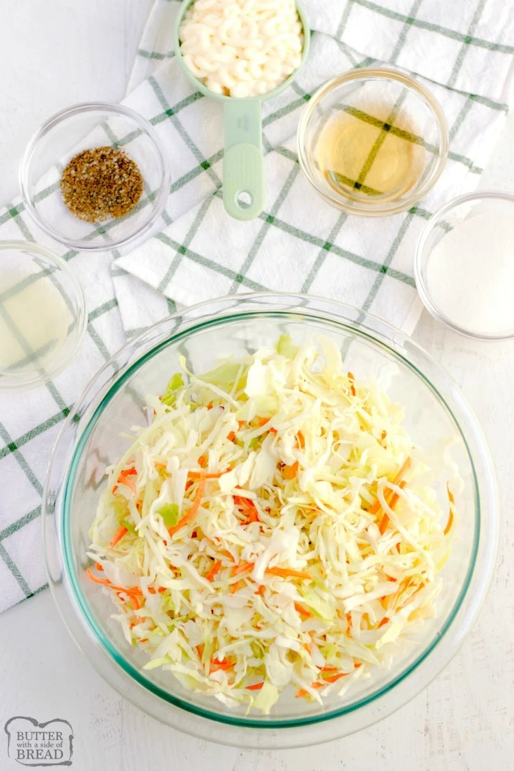 Easy Coleslaw recipe tastes just like KFC's & comes together in minutes! Best ever coleslaw dressing and learn my secret tip that takes your coleslaw from good to GREAT!