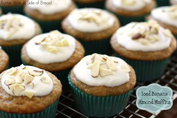 Iced Banana Almond Muffins ~ Butter With A Side of Bread