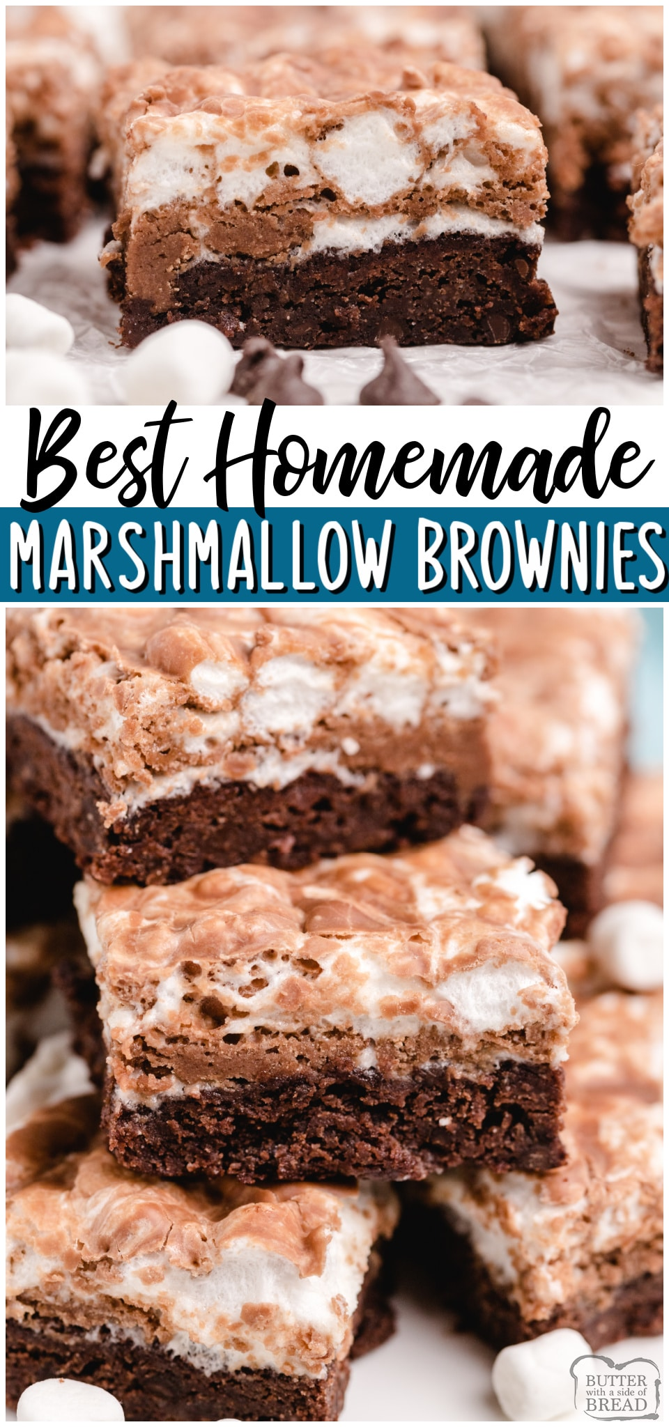 Homemade Marshmallow Brownies are fudgy, chocolaty brownies with a melted marshmallow topping! Perfect from scratch brownie recipe for anyone who loves chocolate & marshmallows!