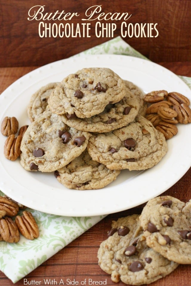 Today is National Chocolate Chip Day (really!) and to celebrate I'm sharing a delicious recipe that includes my favorite ingredient. Can you guess what it is?! Yep- BUTTER! Ahhh yes- in my opinion it makes just about any baked good better. These cookies havea great butter-pecan flavor and the added chocolate is a bonus. They're soft cookies but the outer edges get slightly crispy from the butter -- mmmmm! Try them, you'll love them!
