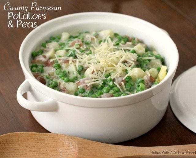 Creamy Parmesan Potatoes and Peas ~ Butter With A Side of Bread