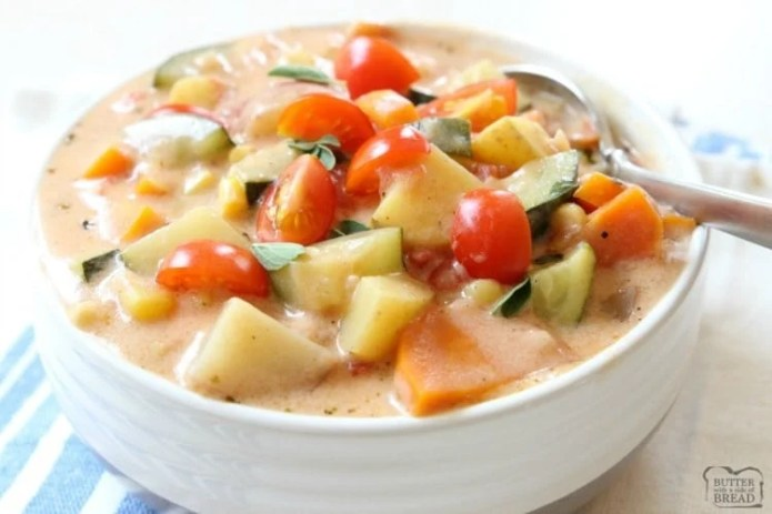 Summer Vegetable Stew is delicious, with tomatoes, zucchini, carrots and more. Fresh flavors perfect for a weeknight summer meal when the garden is overflowing.