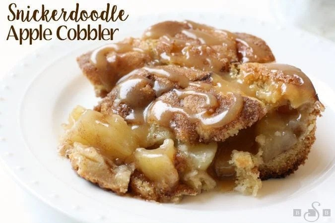 Snickerdoodle Apple Cobbler combines 2 favorite desserts into one! Cinnamon apple pie filling is baked inside snickerdoodle cookie dough, then topped with caramel.