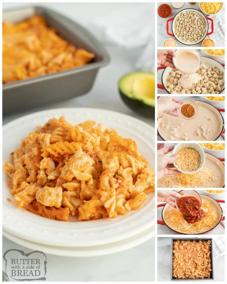 Step by step instructions on how to make chicken alfredo pasta bake
