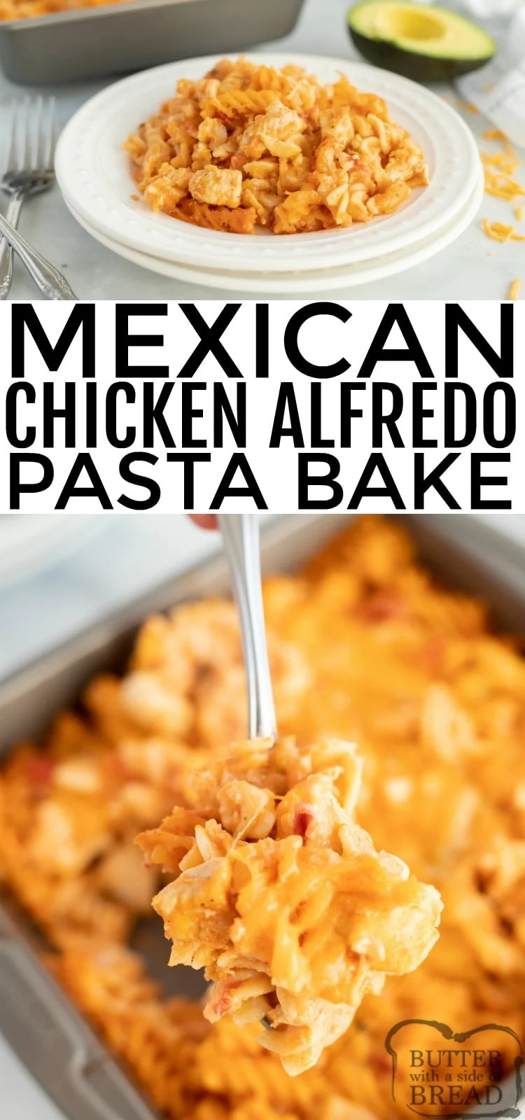 Mexican Chicken Alfredo Pasta Bake is a quick and easy dinner recipe that adds a southwestern twist to chicken alfredo. This baked alfredo recipe includes chicken, alfredo sauce, salsa, taco seasoning and lots of cheese!