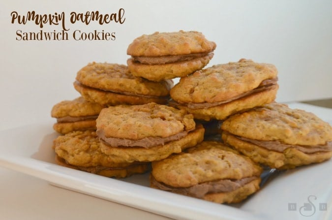 Pumpkin Oatmeal Sandwich Cookies are the best fall treat! They are as tasty as your usual creme oatmeal cookies with a touch of yummy pumpkin flavor!