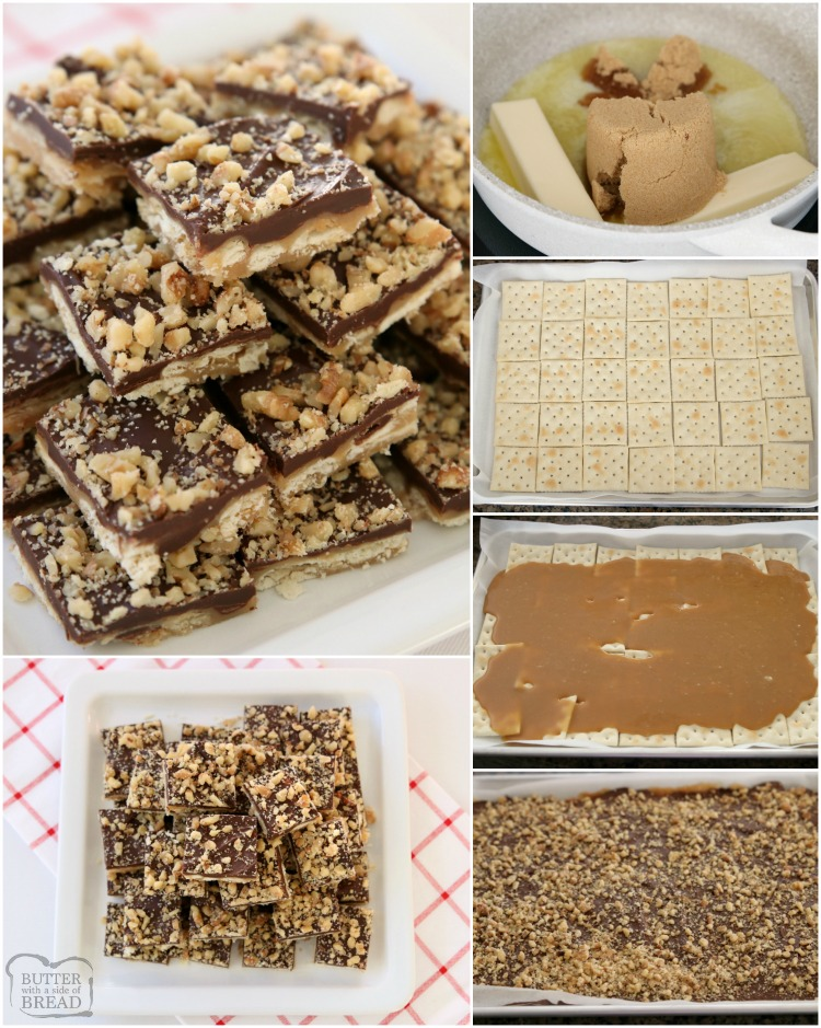 Easy Cracker Toffee is a simple toffee recipe made with saltine crackers, butter, sugar, chocolate & nuts! Perfect sweet & salty Christmas dessert for anyone who loves toffee.
