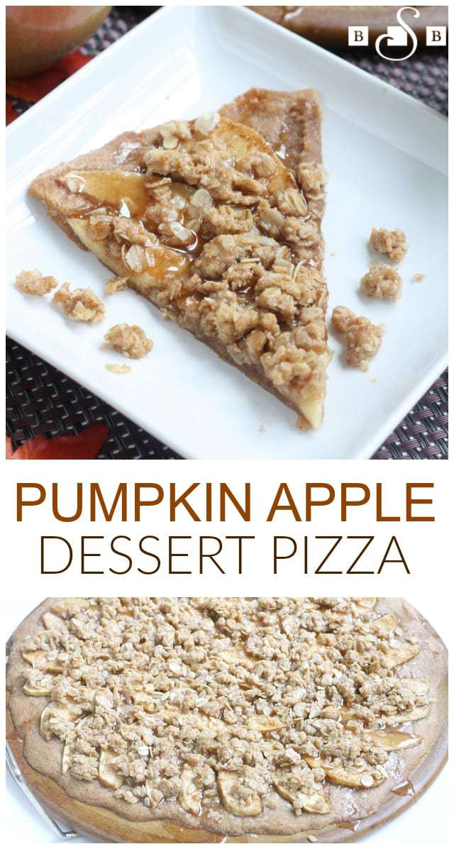 Like most of you, I am obsessed with all things pumpkin these days, and this quick and easy dessert pizza is absolutely amazing! I used a Krusteaz Pumpkin Spice Cookie Mix to create the crust as well as the crumble and glaze that goes on top of the apples, so the whole recipe comes together extremely easily and fast too! Krusteaz has several different seasonal mixes and we have been enjoying all of them at my house this fall!