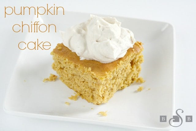 Pumpkin Chiffon Cake is so moist and light and easy to make since you start with a cake mix, and the delicious topping is made with brown sugar and whipped cream!