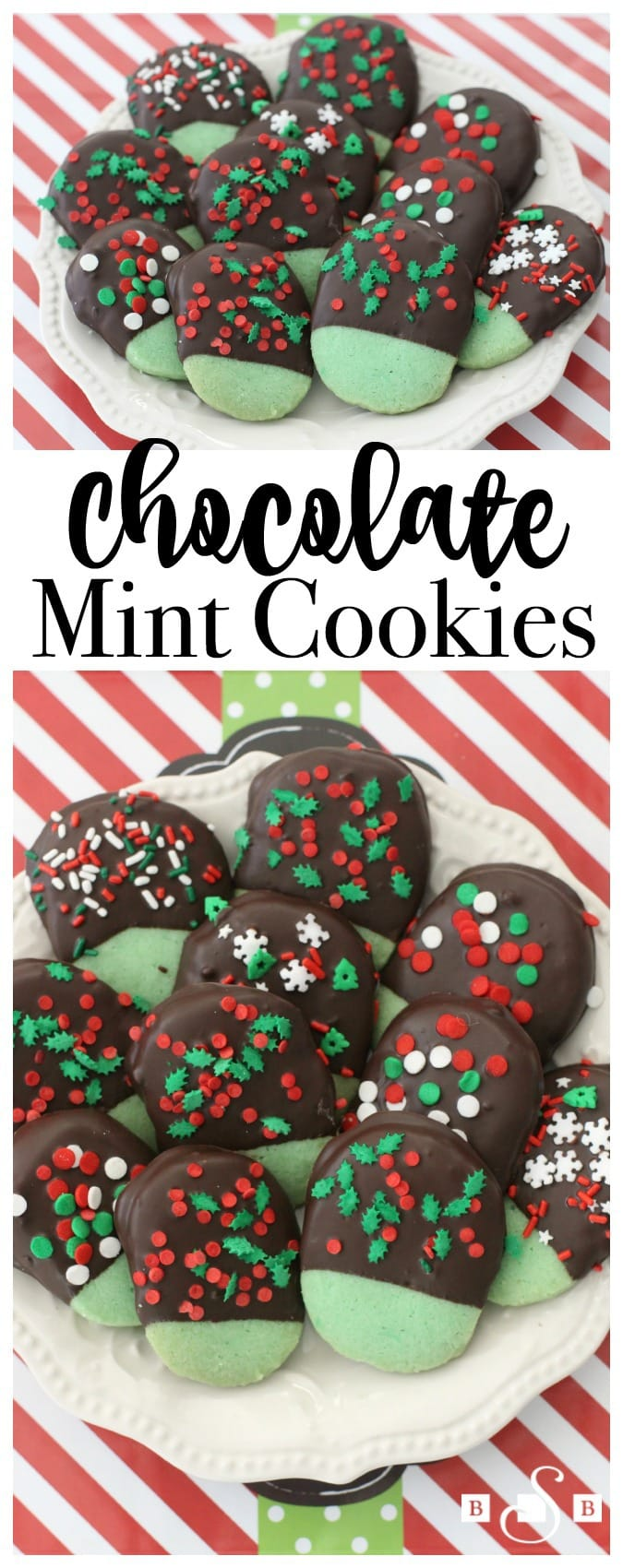 Chocolate Mint Cookies made from a buttery #mint shortbread cookie dipped in dark chocolate & topped with festive holiday sprinkles.My favorite Christmas cookie!
