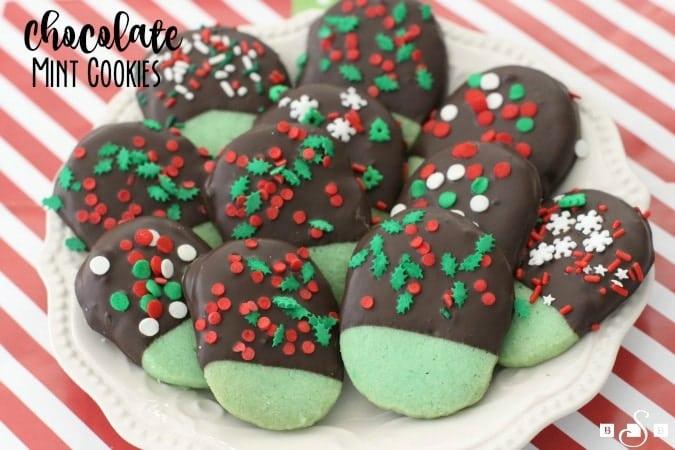 Shortbread Cookies Christmas.Chocolate Mint Cookies