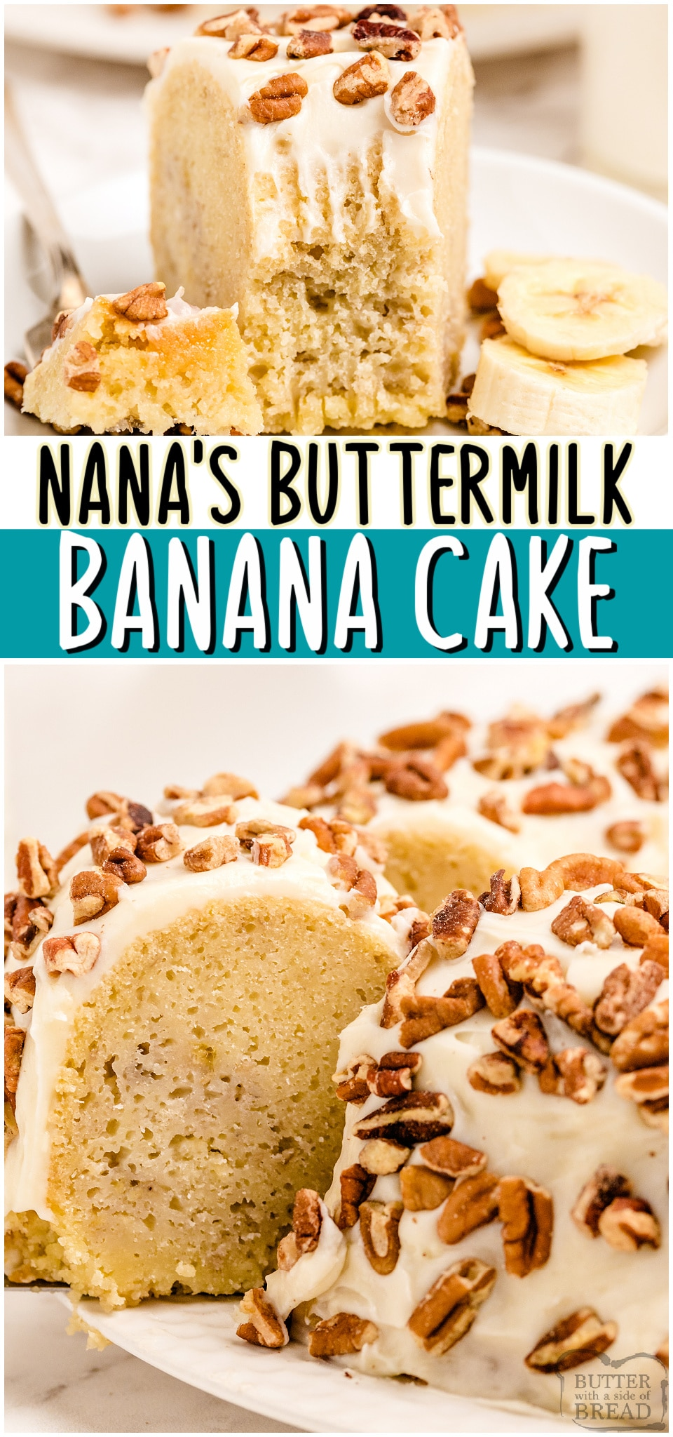 Buttermilk Banana Cake recipe topped with cream cheese frosting for anyone who loves bananas! Fantastic flavor in this moist banana cake- don't skimp on the frosting! Best banana pound cake made with butter, ripe bananas, & buttermilk. #cake #buttermilk #banana #dessert #easyrecipe from BUTTER WITH A SIDE OF BREAD