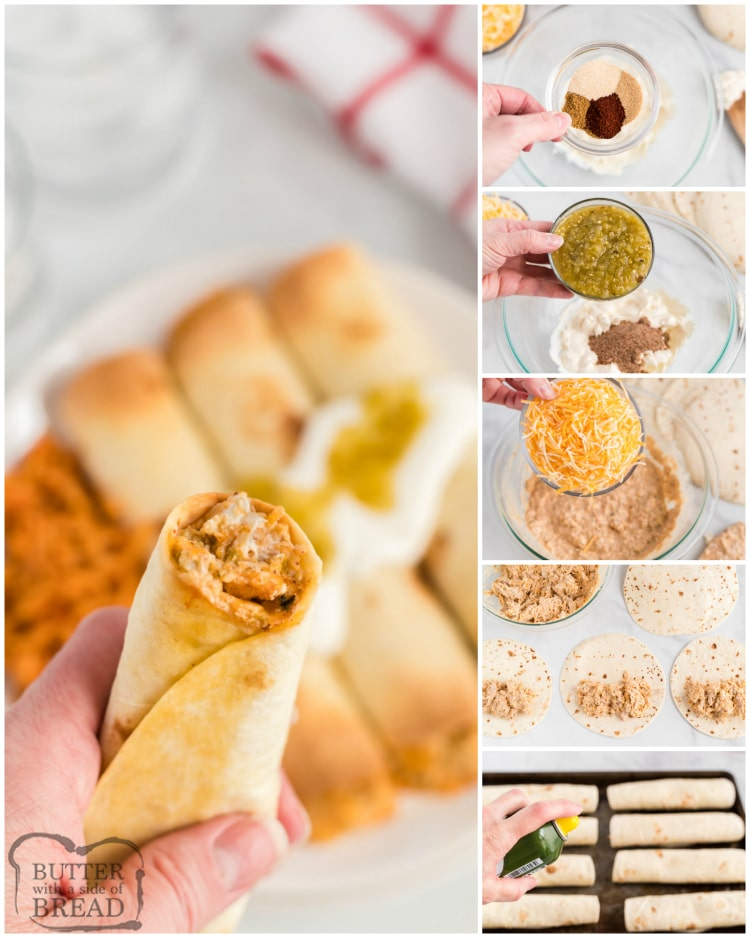 Step by step instructions on how to make baked chicken taquitos