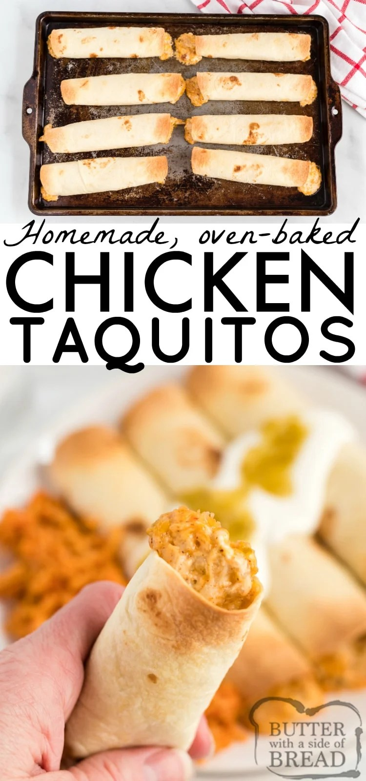 Baked Chicken Taquitos are full of chicken, cheese and lots of salsa and spices to give this delicious homemade taquito recipe tons of flavor.