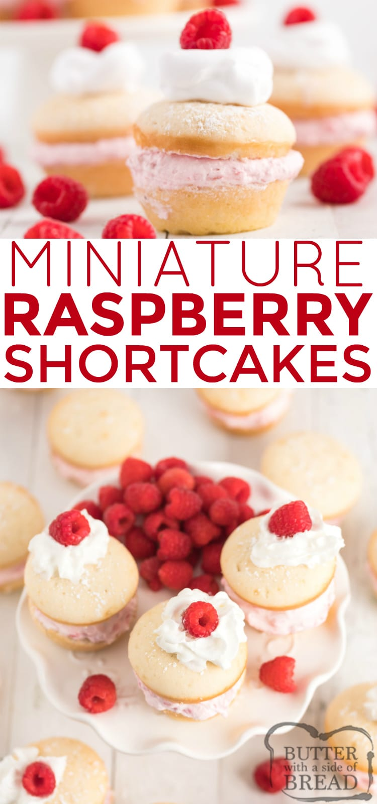 Mini Raspberry Shortcakes are made with a cake mix as the base, while the filling is made with fresh raspberries and real whipped cream. This easy shortcake recipe is absolutely delicious!