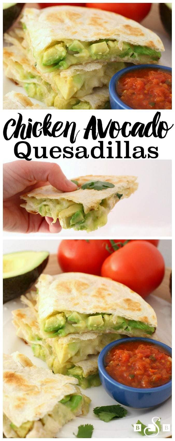 I made these amazing quesadillas and knew I had to share the recipe- they're SO good! These aren't your run-of-the-mill quesadillas either- they've got gooey cheese, big chunks of fresh avocado and chicken mixed with salsa, lime and cilantro. They're great as appetizers, but be prepared with enough- no one can eat just a few bites of these!