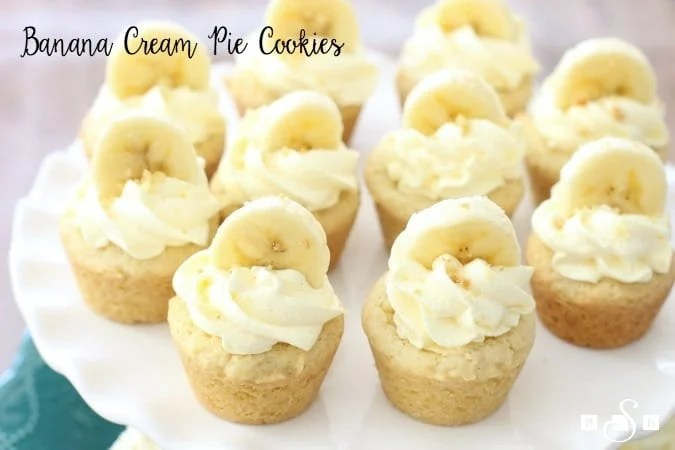 Banana Cream Pie Cookies are the perfect way to cheat and still enjoy the taste of Banana Cream Pie without having to deal with a pie crust!