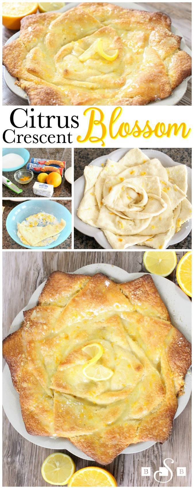 I had several rolls of crescent dough in my fridge that were begging for a recipe to use them in. I wanted to make something a little different that was still easy and had a nice, sweet, Spring flavor. I ended up coating the uncooked crescent dough in a mixture of sugar and citrus zest, then arranged the pieces in a pie pan to resemble a spring blossom. It worked beautifully- and tasted delightful! It's sweet enough to be a dessert, but I also enjoy it with breakfast or brunch. I created a video to show you just how to do it- scroll down to watch!