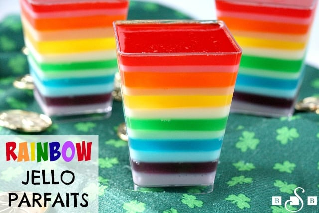 Rainbow Jello Parfaits are so festive and fun, especially for your kids on St. Patrick's Day! You only need two basic ingredients to make these...jello and yogurt!