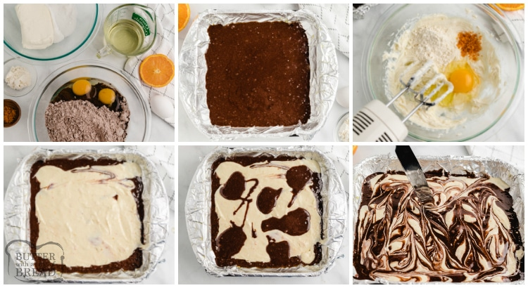 Step by step instructions on how to make orange cheesecake brownies