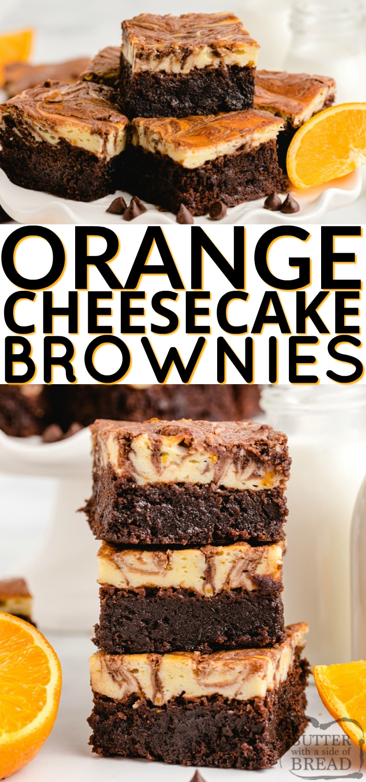 Orange Cheesecake Brownies made with a delicious orange cheesecake layer that is swirled with a simple brownie mix. The orange and chocolate combination is absolutely incredible!