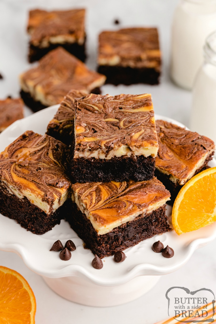 Brownie mix brownies with an orange cheesecake layer