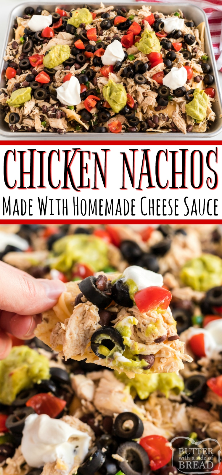 Chicken Nachos recipe made with a simple homemade cheese sauce made from real cheese. This simple nacho recipe can be made without an oven and you can add any veggies or toppings you prefer!