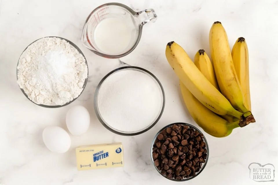 Chocolate Chip Banana Cake recipe ingredients