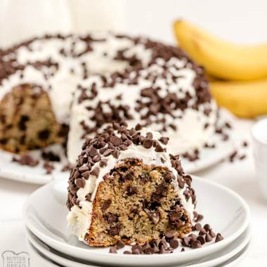 Chocolate Chip Banana Cake is a lovely homemade banana bundt cake recipe with chocolate chips! Fantastic flavor and wonderful frosting ~perfect recipe for ripe bananas!