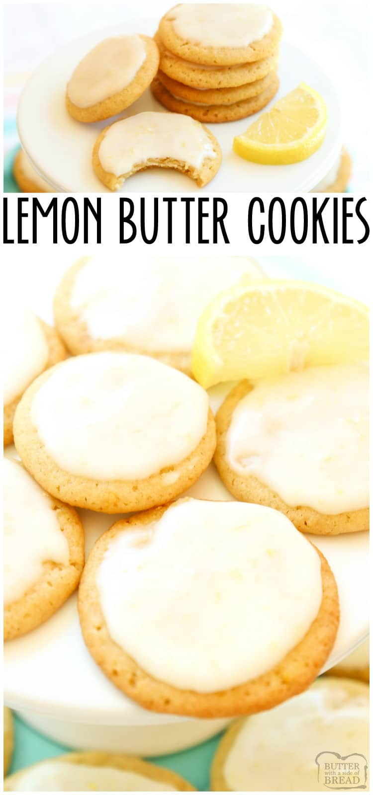 Lemon Butter Cookiesis one of my favorite butter cookie recipesand lemon desserts! Every time I make them I'm surprised at just how GOOD theselemon cookiestaste. #lemon #cookies #lemonbuttercookies #buttercookies #lemondessert #withicing #recipefrom Butter With a Side a Bread