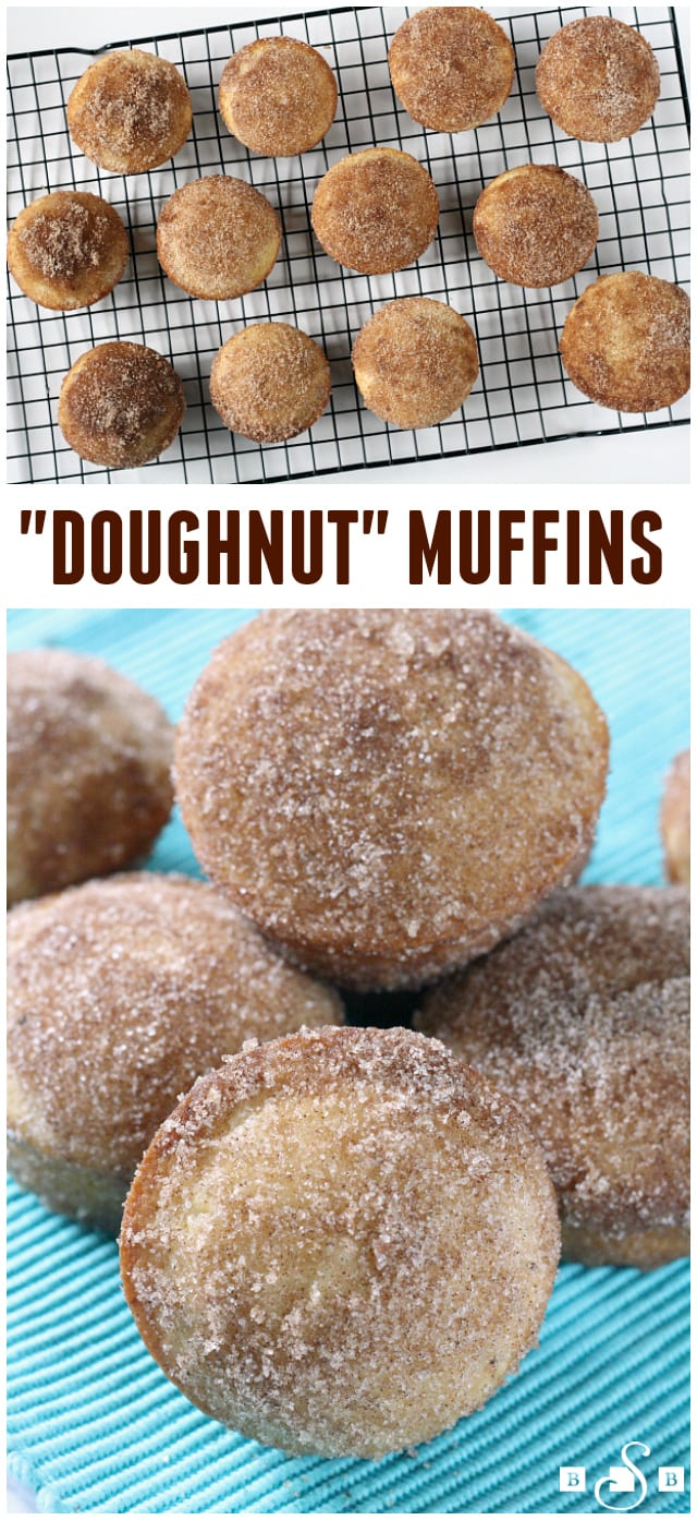 My family loves doughnuts, but I'm not a big fan of frying things so we don't make them very often at home. I recently came across this recipe for Doughnut Muffins and thought I'd give it a try. The results are delicious - I'm not sure that they taste exactlylike a doughnut but pretty close and no frying is involved. You do dip the muffins in butter which is a pretty good substitute for deep frying in oil!