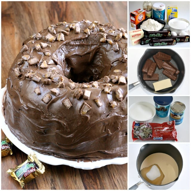 Milky Way Cake is a huge hit at our house, it is made with melted Milky Way candy bars and topped with a chocolate marshmallow ganache!