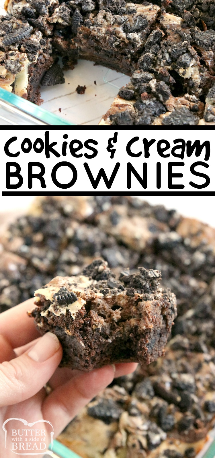 Cookies and Cream Brownies combine a rich, fudgy brownie recipe with a sweet cream cheese layer that is swirled on top! There are Oreo cookies in the brownies and also on top for more cookies and cream deliciousness!
